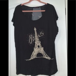 Black top with cute Paris design